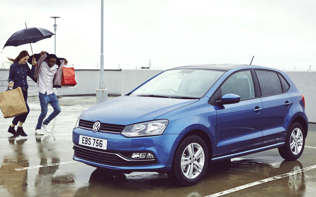Blue Volkswagen Polo GP exterior view right side front